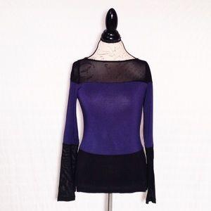 Bebe Black Blue color block long sleeve top